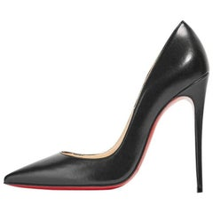 Christian Louboutin New Black Leather SO Kate High Heels Pumps in Box