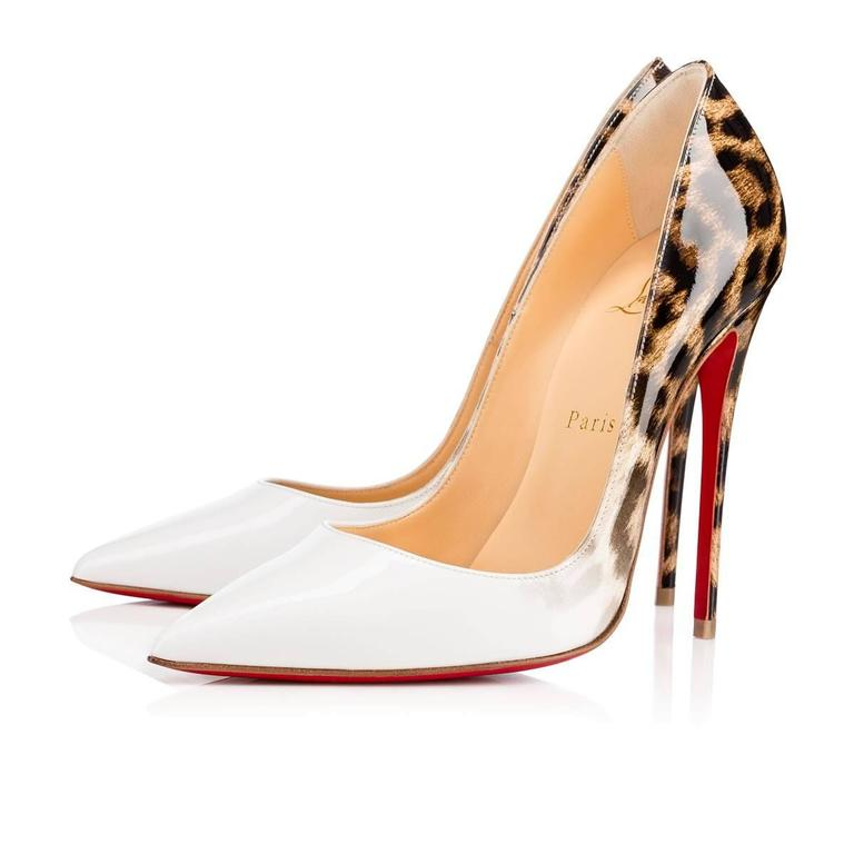 aff5eec5a881 Christian Louboutin New Sold Out White Leopard Patent So Kate Pumps Heels  in Box In New
