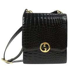 Gucci Vintage Croc Leather Gold GG Charm Evening Shoulder Flap Bag in Dust Bag