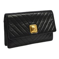 Chanel Black Lambskin Leather Gold Tone Chevron Envelope Evening Clutch Flap Bag