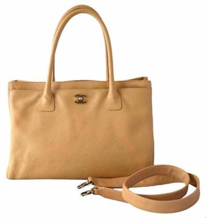 Chanel Tan Beige Nude Caviar Leather Carryall Travel Shoulder Tote Bag  For Sale