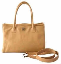 Chanel Tan Beige Nude Caviar Leather Carryall Travel Shoulder Tote Bag
