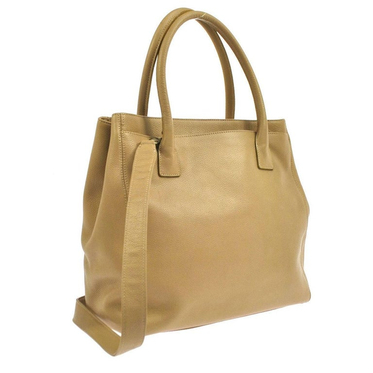 Women's Chanel Tan Beige Nude Caviar Leather Carryall Travel Shoulder Tote Bag  For Sale