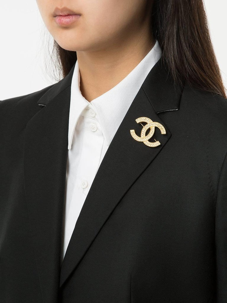 Chanel Gold Rhinestone CC Charm Evening Pin Brooch For Sale at 1stdibs