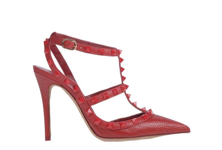 Valentino New Sold Out Red Crocodile Print Leather Rockstud Heels Pumps in Box 3