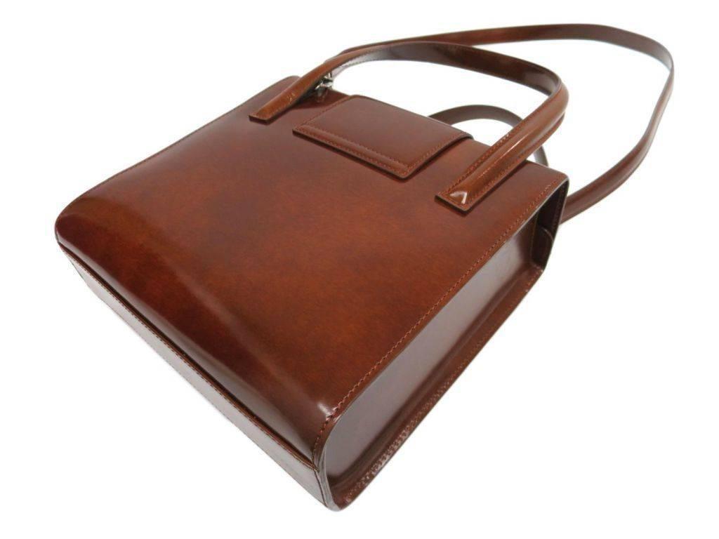 Cartier Cognac Patent Evening Silver Chain Top Handle Satchel Kelly Shoulder Bag K7iaucBhV