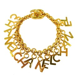 Chanel Vintage Rare Gold CHANEL Charms Chain Link Evening Bracelet