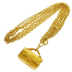 Chanel Vintage Gold Textured 2.55 Flap Handbag Charm Chain Necklace
