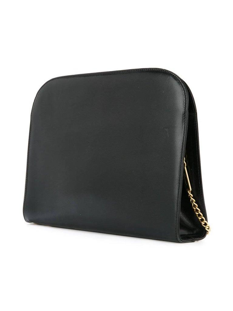 Women's Salvatore Ferragamo Black Leather Envelope 2 in 1 Clutch Flap Shoulder Bag For Sale