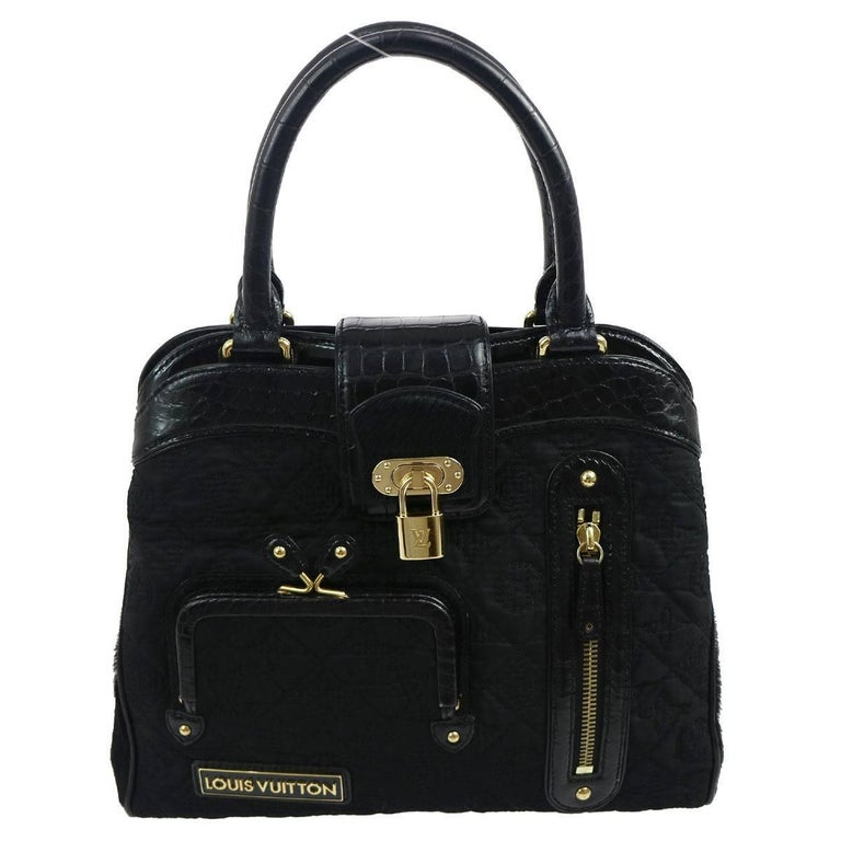 Louis Vuitton Limited Edition Black Kelly Style Top Handle Satchel Evening Bag