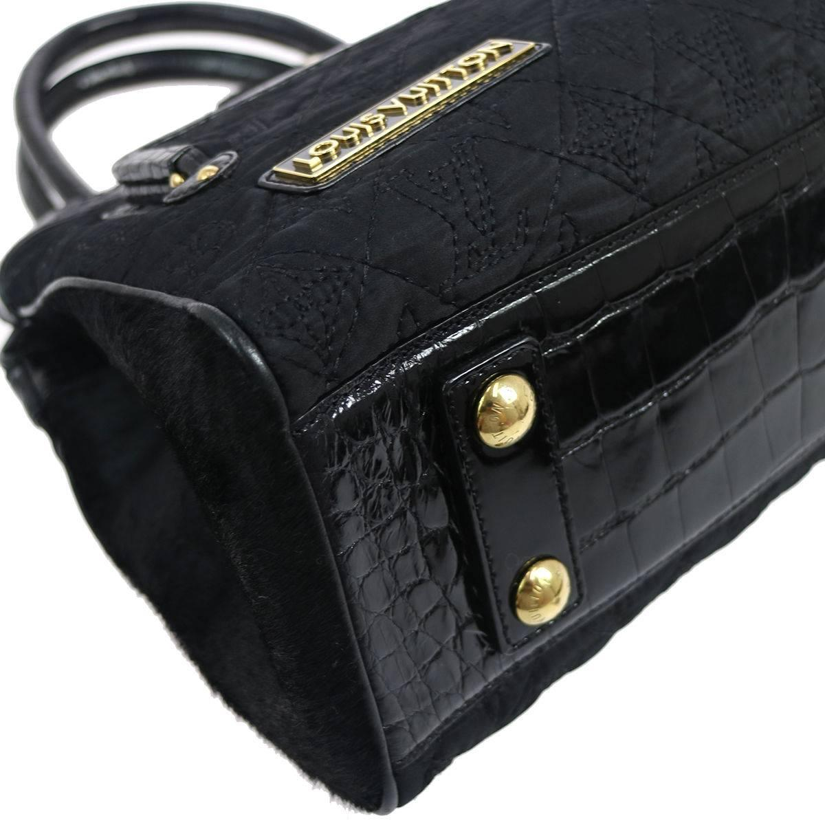 Louis Vuitton Limited Edition Black Kelly Style Top Handle Satchel Evening Bag YVyjOdNx