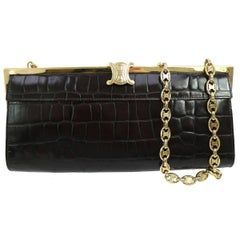Celine Leather Charm Gold 2 in 1 Evening Clutch Flap Shoulder Bag