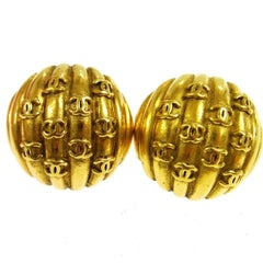 Chanel Vintage Gold Charm Evening Stud Earrings
