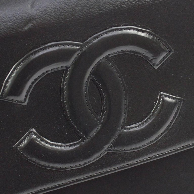 Chanel Black Leather Silver Chain Top Handle Satchel Evening Bag In Excellent Condition For Sale In Chicago, IL