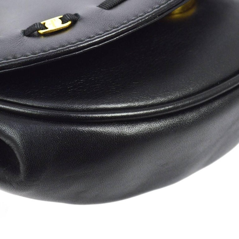 Salvatore Ferragamo Black Leather Gold 2in1 Fanny Pack Belt Bag For Sale 3