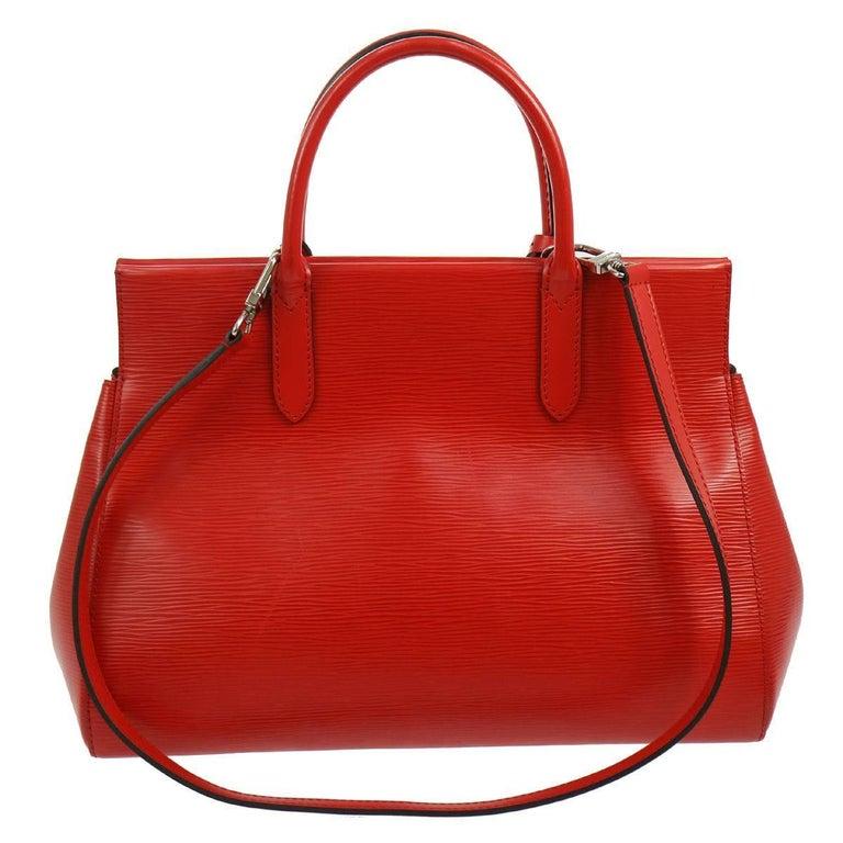 Louis Vuitton Red Epi Top Handle Satchel Tote Carryall Travel Shoulder Bag