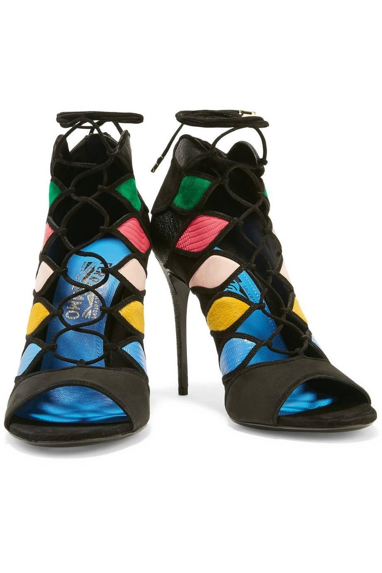 "Salvatore Ferragamo New Black Multi Gladiator Evening Heels Booties in Box   Size IT 36 - Not your size?  Message us for help finding yours. Suede Leather Tie and zip closures Made in Italy Heel height 4.5"" Includes original Salvatore Ferragamo"