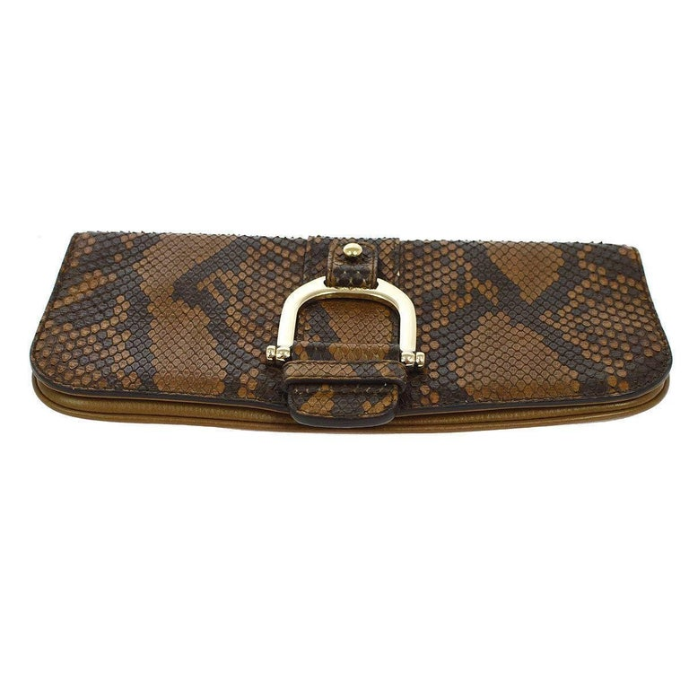 Brown Gucci Cognac Taupe Black Snakeskin Leather Horsebit Evening Clutch Bag For Sale