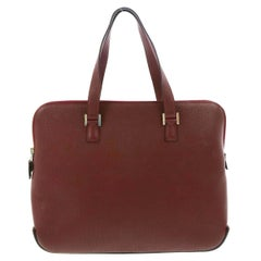 Hermes Bordeaux Red Leather Top Handle Travel Carryall Shoulder Tote Bag