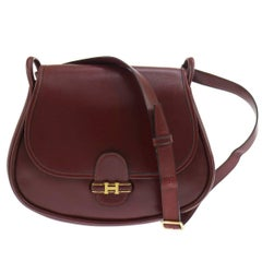 Hermes Vintage Bordeaux Red Leather Saddle Flap Crossbody Shoulder Bag