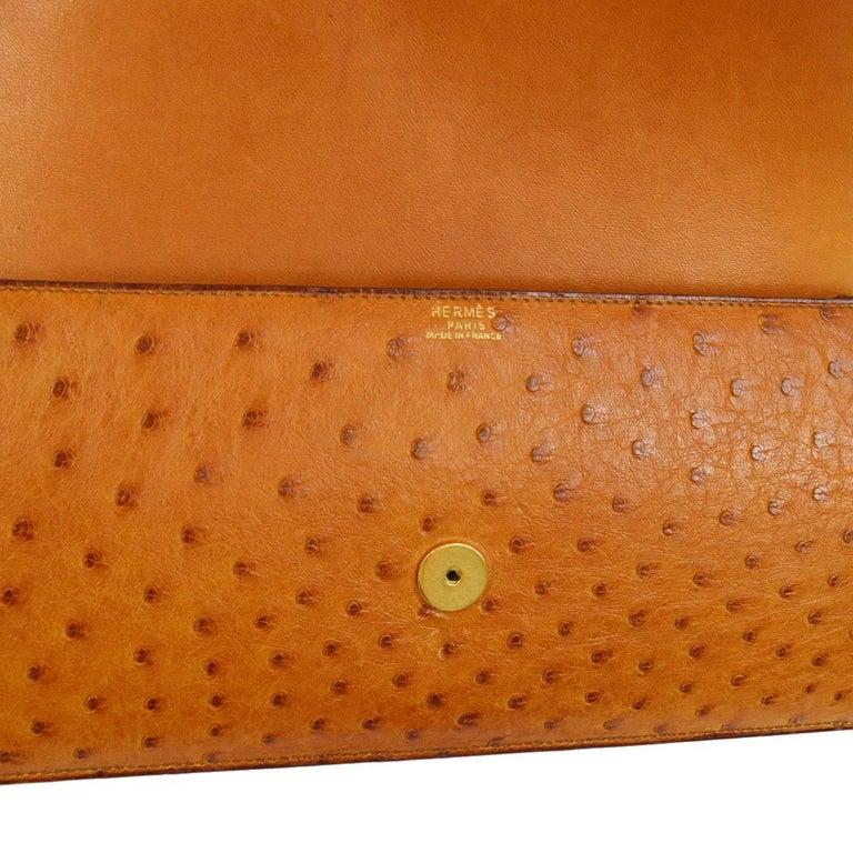 Hermes Vintage Cognac Ostrich Leather Envelope Evening Clutch Flap Bag For Sale 2