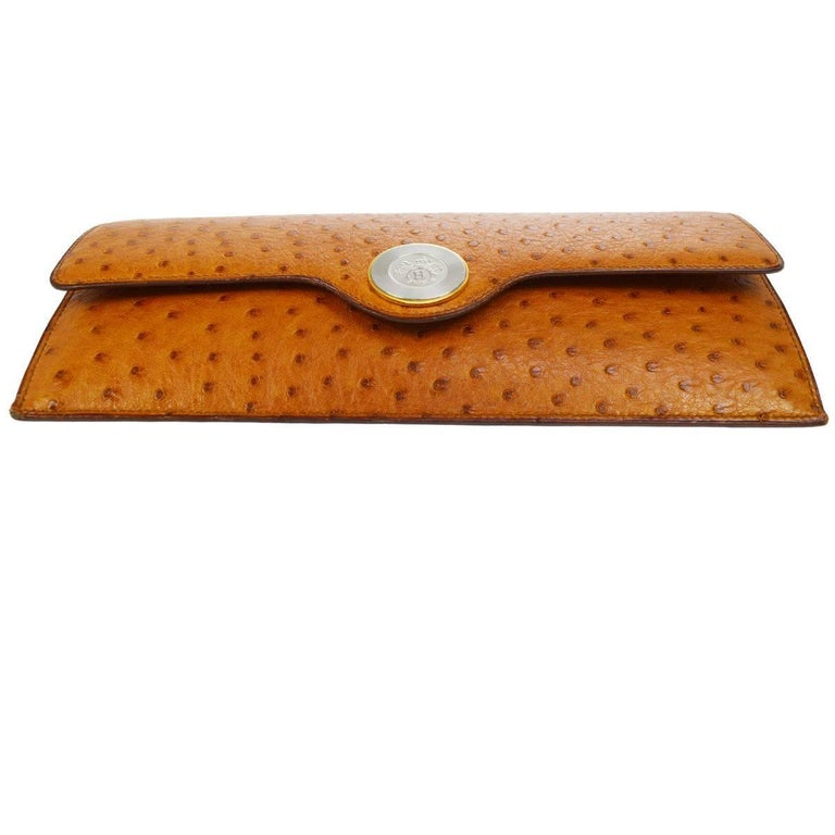 Brown Hermes Vintage Cognac Ostrich Leather Envelope Evening Clutch Flap Bag For Sale