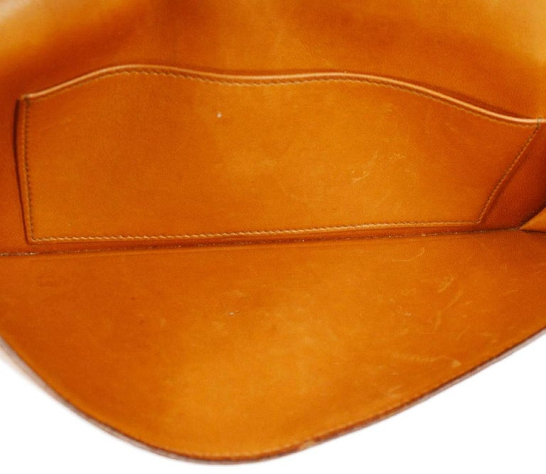 Hermes Vintage Cognac Ostrich Leather Envelope Evening Clutch Flap Bag For Sale 1