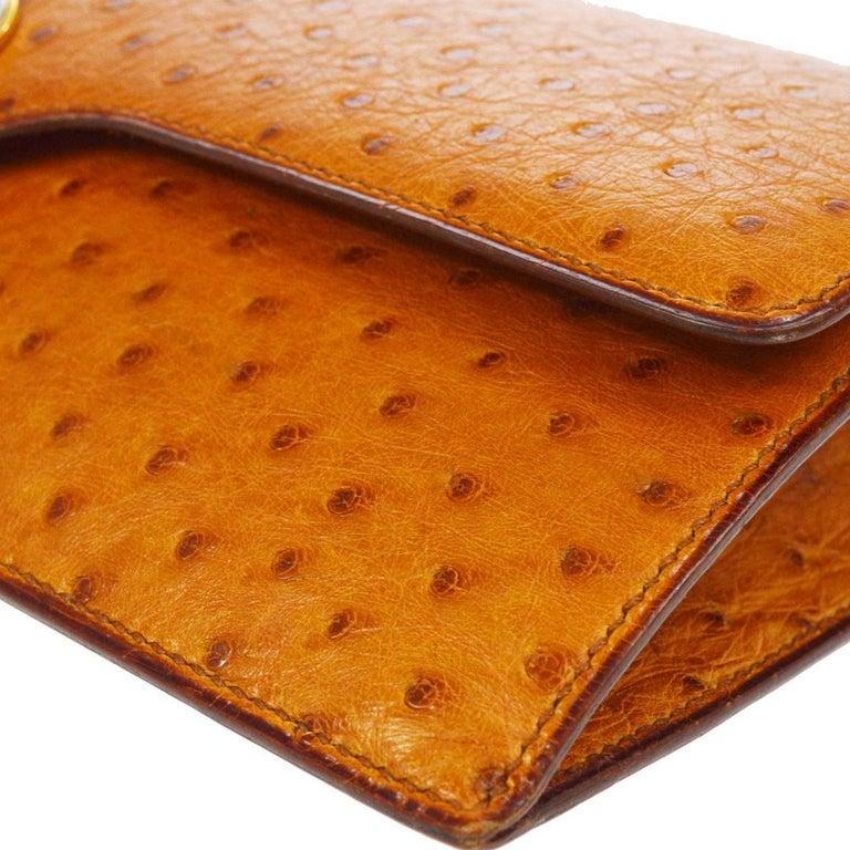 Women's Hermes Vintage Cognac Ostrich Leather Envelope Evening Clutch Flap Bag For Sale