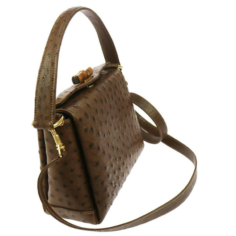 Brown Gucci Taupe Ostrich Bamboo Mini Kelly Style Top Handle Satchel Shoulder Bag For Sale