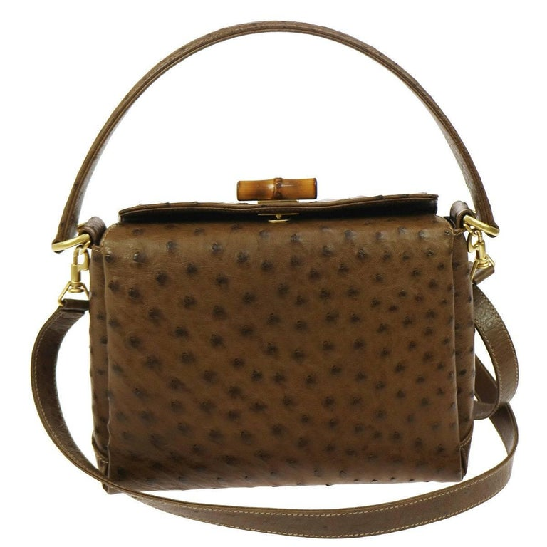 Gucci Taupe Ostrich Leather Bamboo Kelly Style Top Handle Satchel Shoulder Bag