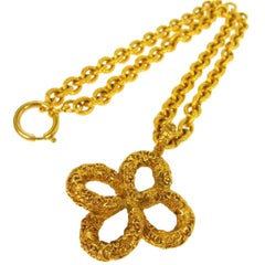 Chanel Vintage Gold Clover Charm Evening Drape Link Necklace in Box