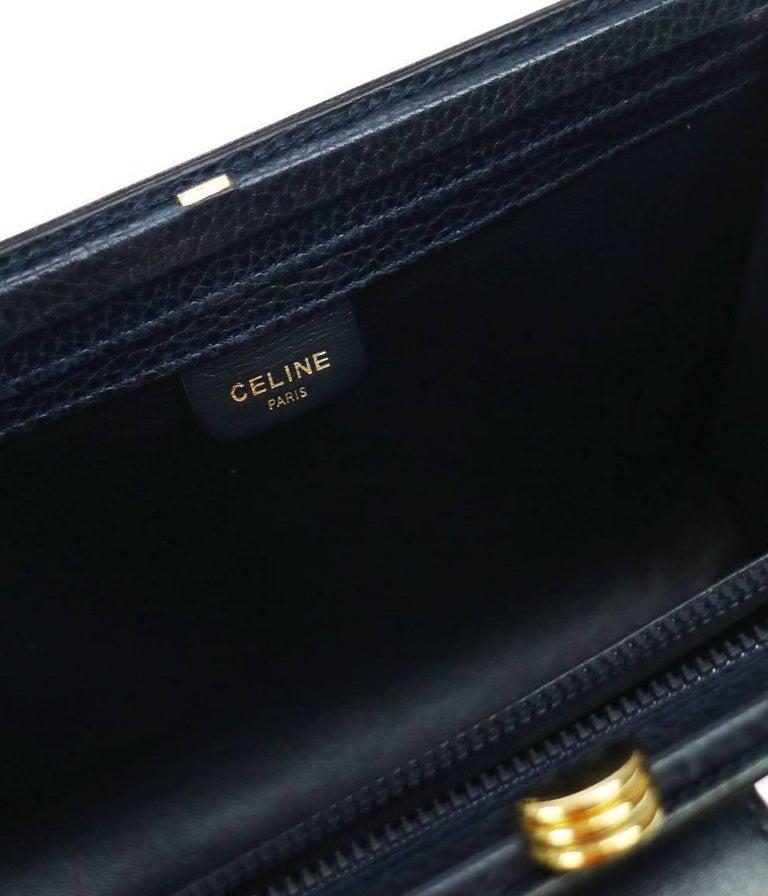Celine Navy Blue Leather Toggle Gold Flap Evening Clutch Bag For Sale 1