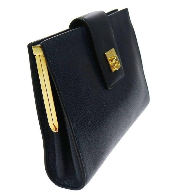 Black Celine Navy Blue Leather Toggle Gold Flap Evening Clutch Bag For Sale