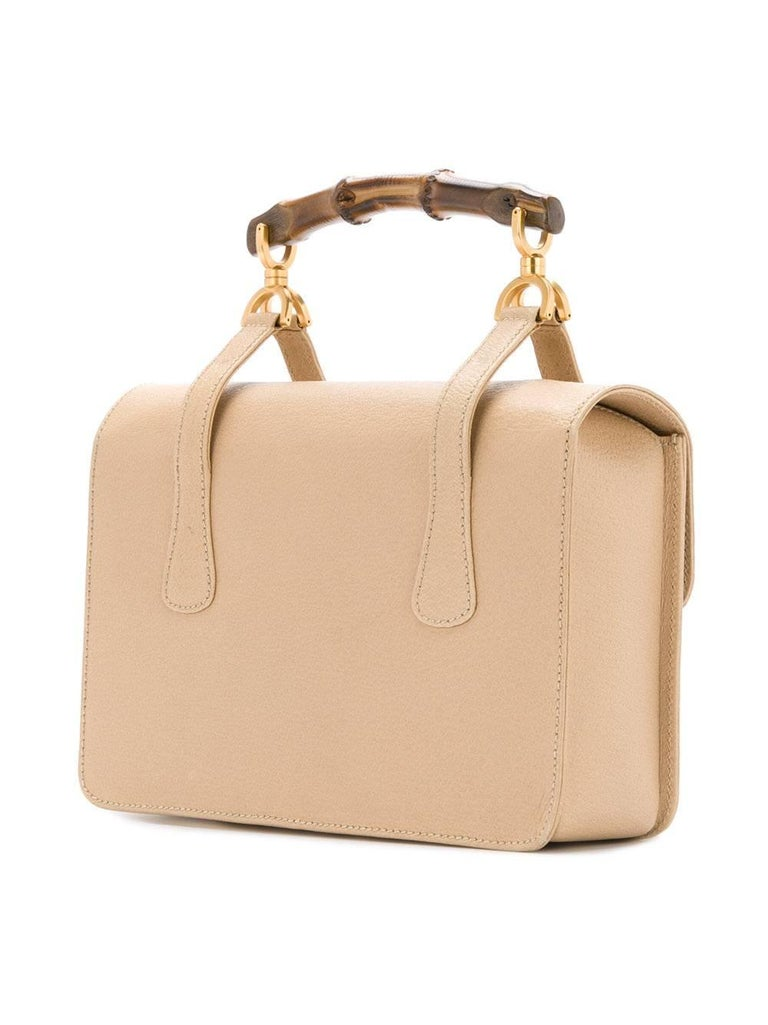 Gucci Nude Leather Bamboo Kelly Top Handle Satchel Evening Flap Shoulder Bag In Excellent Condition For Sale In Chicago, IL