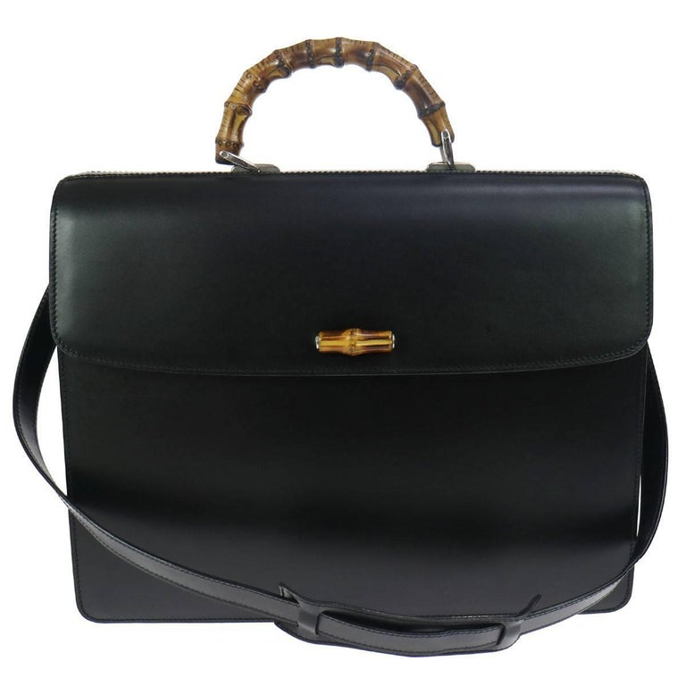 Gucci Black Leather Bamboo Business Men's Briefcase Top Handle Flap Shoulder Bag