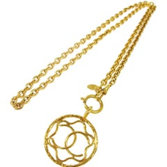 Chanel Vintage Gold Round Coin Evening Long Charm Chain Necklace