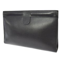 Chanel Black Leather CC All Over Logo Envelope Evening Clutch Hand Bag