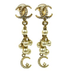 Chanel Like New Gold Faux Pearl Charm Long Dangle Drop Evening Earrings in Box