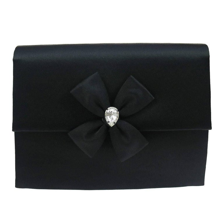 YSL Black Satin Rhinestone Bow Evening Envelope Clutch Bag