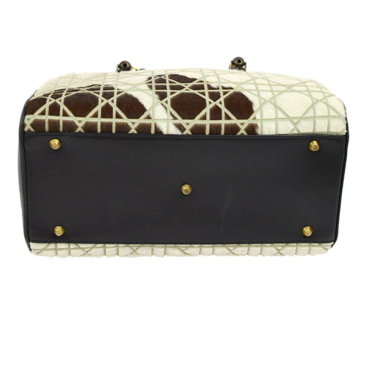 Dior Black Cream Brown Ponyhair Leather Top Handle Satchel Boston Bag qLdND7a
