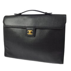 Chanel Back Leather Top Handle Men's Women's Business Travel Briefcase Bag