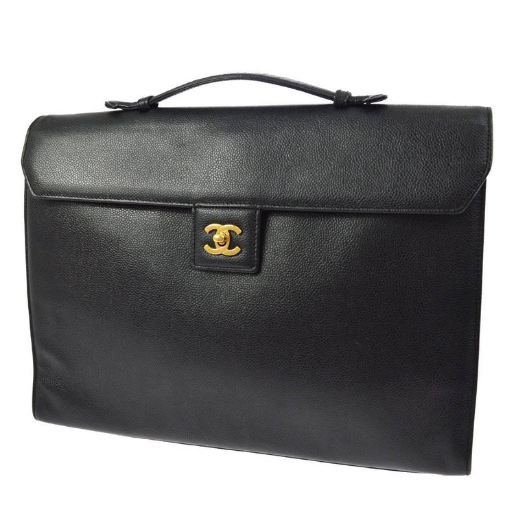 428b53557d48 Chanel Back Leather Top Handle Men s Women s Business Travel Briefcase Bag  For Sale at 1stdibs