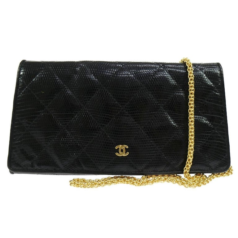 Chanel Black Lizard Leather Gold Chain 2 in 1 Clutch Flap Evening Shoulder Bag