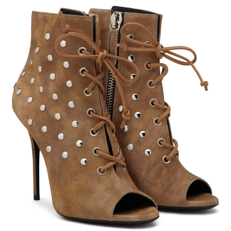 Giuseppe Zanotti New Cognac Suede Stud Ankle Booties W/Box In New Never_worn Condition For Sale In Chicago, IL