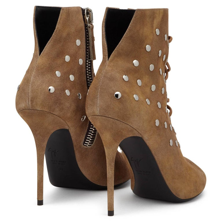 Women's Giuseppe Zanotti New Cognac Suede Stud Ankle Booties W/Box For Sale