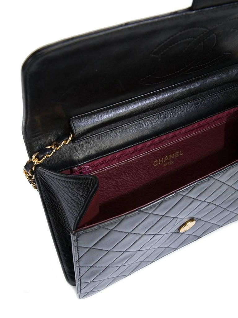 fa4bdec37f99 Chanel Vintage Black Lambskin Gold 2 in 1 Evening Clutch Flap Shoulder Bag  For Sale 1