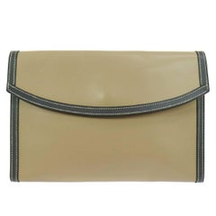 Hermes Rare Taupe Leather Envelope Evening Flap Clutch Bag in Dust Bag