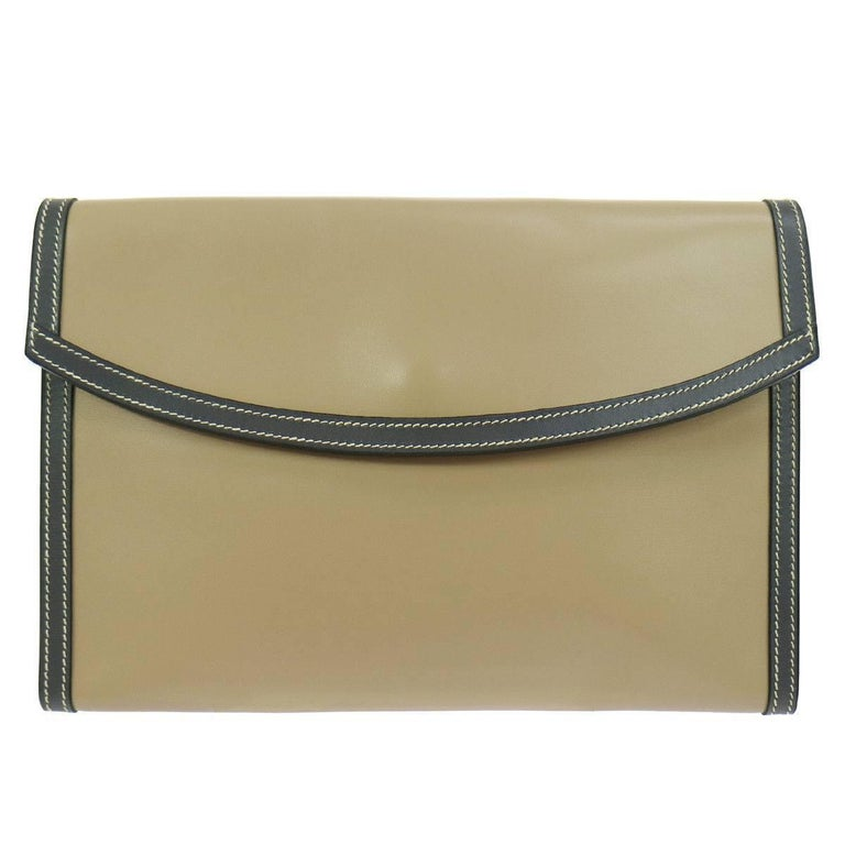 Hermes Rare Taupe Leather Envelope Evening Flap Clutch Bag in Dust Bag For Sale
