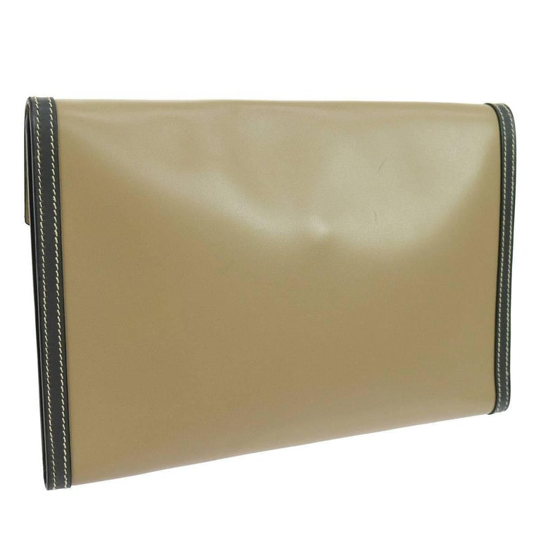 Hermes Rare Taupe Leather Envelope Evening Flap Clutch Bag in Dust Bag   Leather Leather lining Snap closure Made in France Measures 9.5