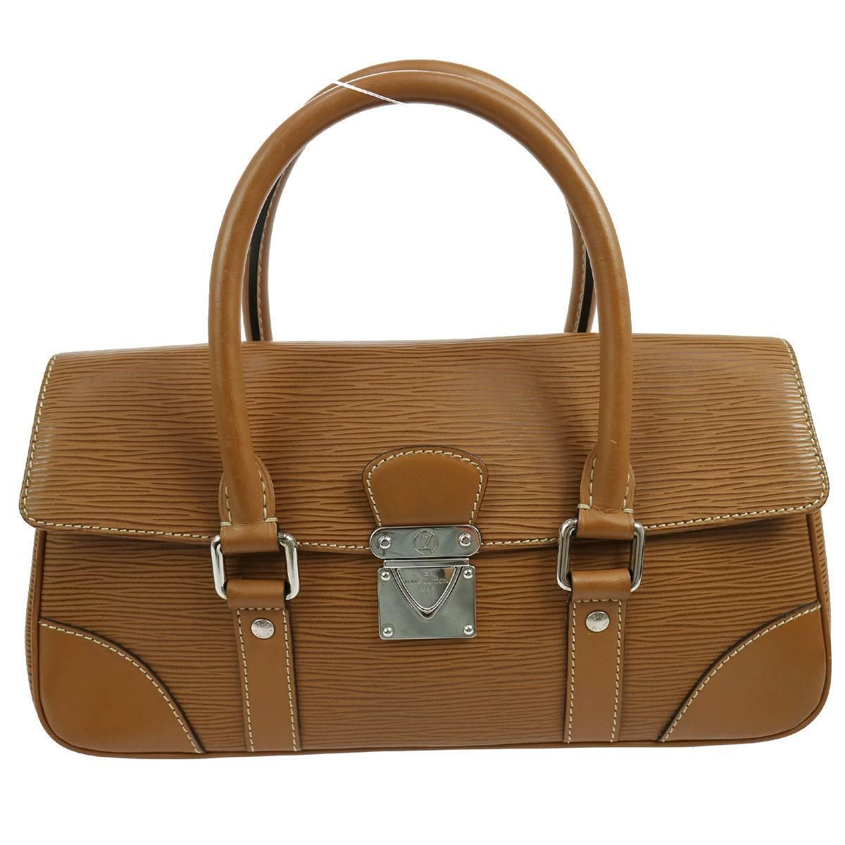 Louis Vuitton Cognac Brown Leather Silver Evening Top Handle Satchel Boston Bag AP8udH